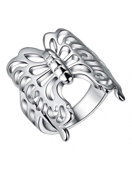 Inel din argint, fluture cu aripi mari decupate