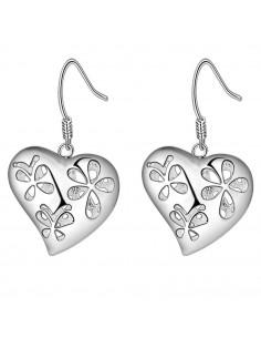Cercei placati cu argint, inimi cu 2 fete, cu flori si inimioare decupate