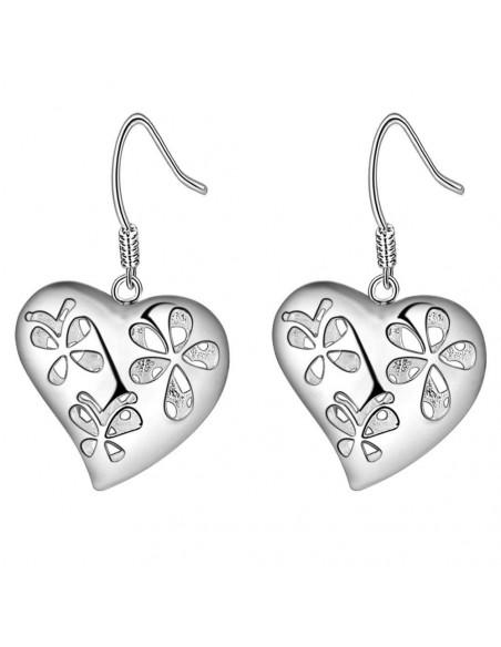 Cercei placati cu argint, inimi cu 2 fete, cu flori, fluturi si inimioare
