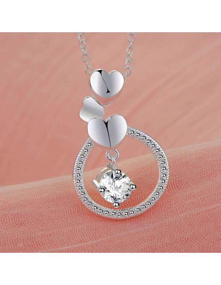 Pandantiv placat cu argint, inel cu 3 inimioare si cristal de zirconie