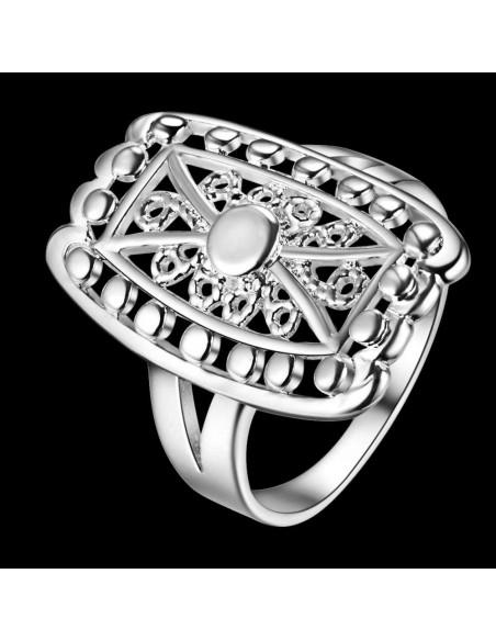 Inel placat cu argint, model dreptunghiular rama cu margelute si spirale