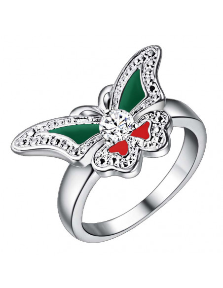 Inel placat cu argint, fluture cu aripi rosu / verde si cristal