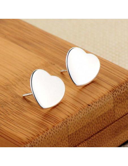 Cercei placati cu argint, inimioare simple, plate, lucioase