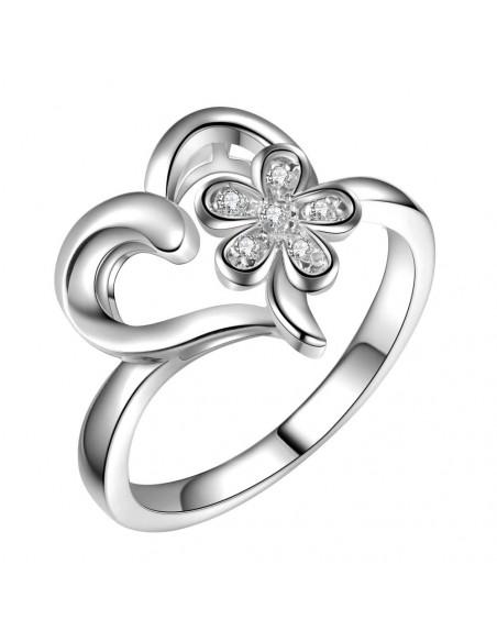 Inel placat cu argint, inimioara cu floare si zirconii cubice albe