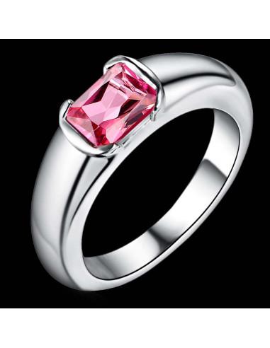 Inel placat cu argint, cu cristal zirconie colorata taietura emerald