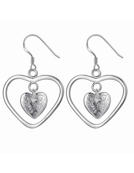 Cercei doua inimioare concentrice, finisaj texturat, placati cu argint