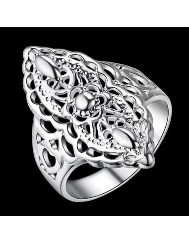 Inel placat cu argint, model filigranat romb cu inimioare