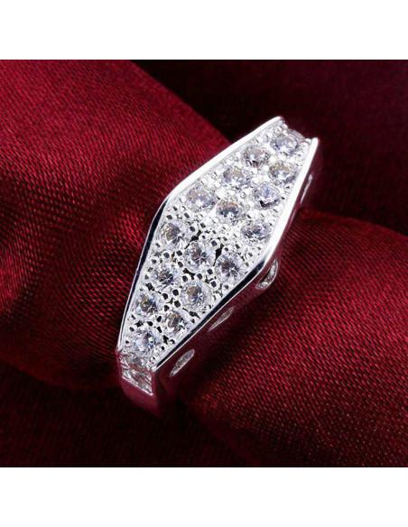 Inel Sparkle placat cu argint, romb cu cristale stralucitoare si inimi