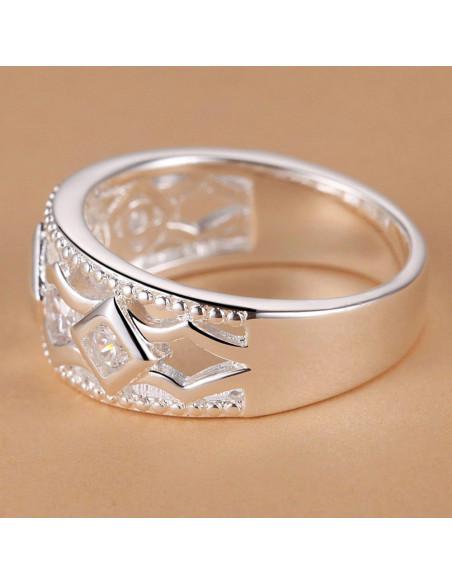 Inel placat cu argint, romburi suprapuse cu zirconii si rama cu margele