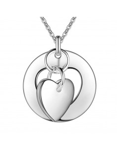 Pandantiv rotund placat cu argint, cu inimioara decupata prinsa pe inel