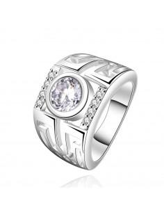 Inel placat cu argint, model elegant cu zirconie rotunda mare si decupaje