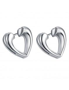 Cercei placati cu argint, inimi mici, decupate, cu sectiunea inimioara