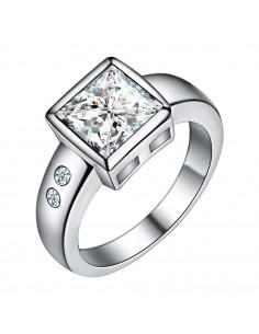 Inel de logodna placat cu argint, cristal zirconie patrata