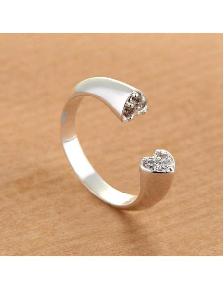 Inel placat cu argint, inima incompleta, sectiune inimioara cu cristale