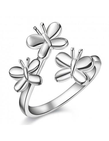 Inel placat cu argint, familie de trei fluturasi