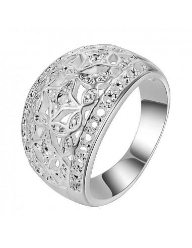 Inel placat cu argint, coronita model floral cu stelute filigranate