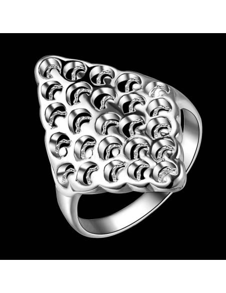 Inel lung placat cu argint, model romb cu gropite