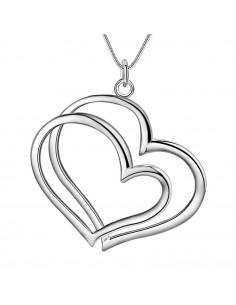 Pandantiv placat cu argint, 2 inimioare mari suprapuse, cu lantisor