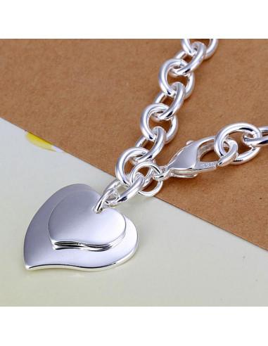 Bratara placata cu argint, lant gros cu doua inimioare lucioase