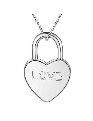 Pandantiv placat cu argint, lacat in forma de inimioara cu LOVE