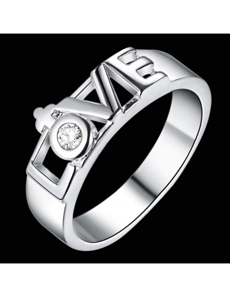 Inel placat cu argint, verigheta cu cristal si LOVE