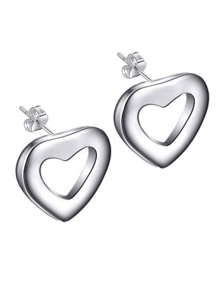 Cercei placati cu argint, inimioare simple, plate, decupate