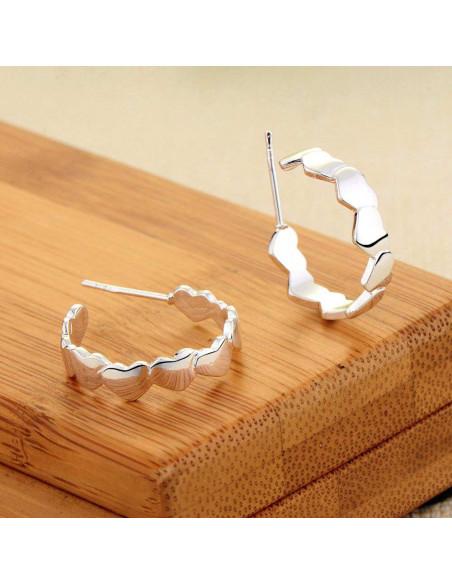 Cercei romantici, placati cu argint, cercuri cu multe inimioare