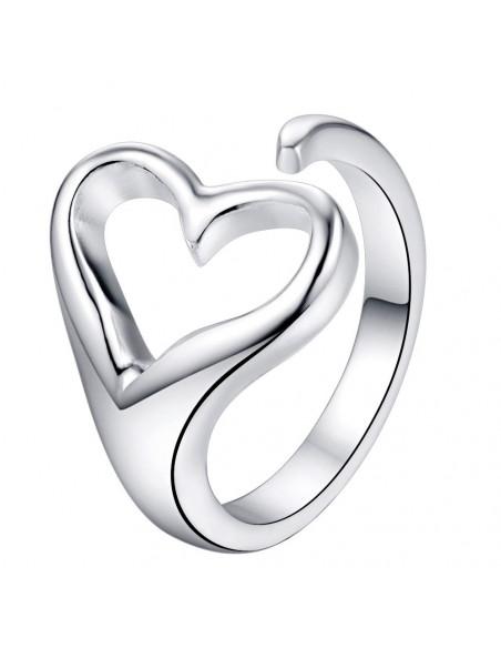 Inel placat cu argint, inimioara simpla, asimetrica