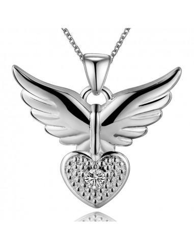 Pandantiv placat cu argint, aripi cu inimioara si cristal de zirconie