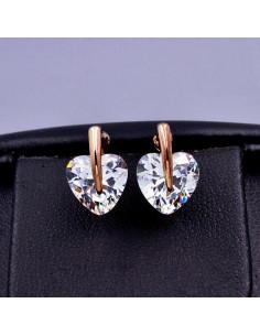 Cercei minimal aurii, cu zirconii in forma de inima