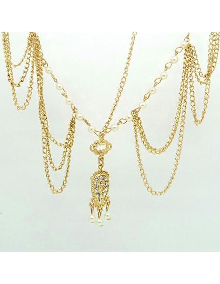 Bentita hippie boho chic aurie cu perle, cristale si medalion