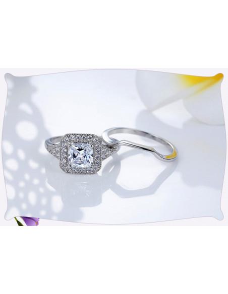 Set inele de logodna, cristale de zirconie cubica, placat cu rodiu