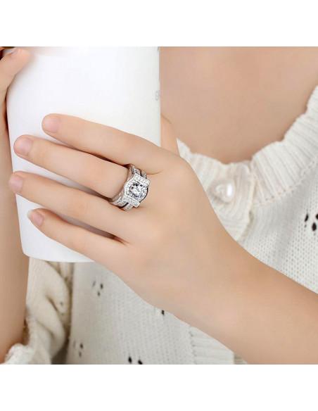 Set inele statement de logodna, cristale de zirconie, placat cu rodiu