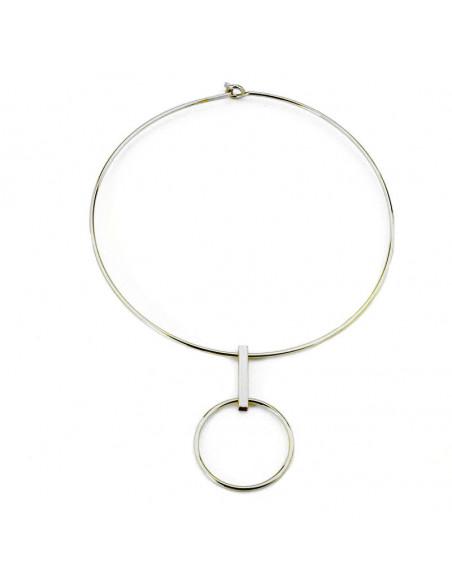 Colier choker rotund, din metal, cu tija si inel mare