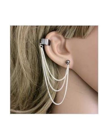 Cercel tip ear cuff, model cu trei lanturi argintii, prindere pe ureche
