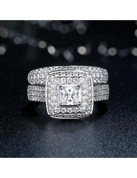 Set inele de logodna statement, cristal patrat zirconie, platou patrat