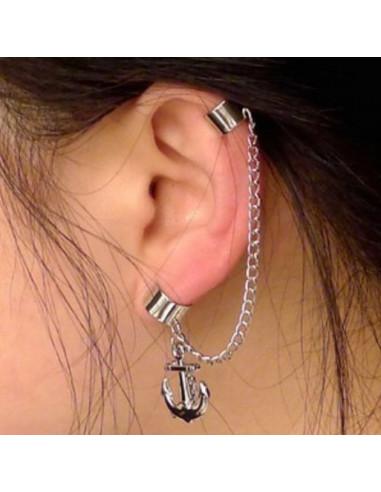 Cercel tip ear cuff, model cu ancore si lantisor, prindere pe ureche