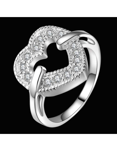 Inel placat cu argint, inima mare cu cristale, prinsa pe laterale