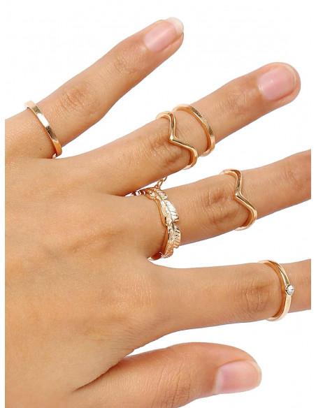 Set 6 inele aurii minimal, pentru mijlocul degetelor