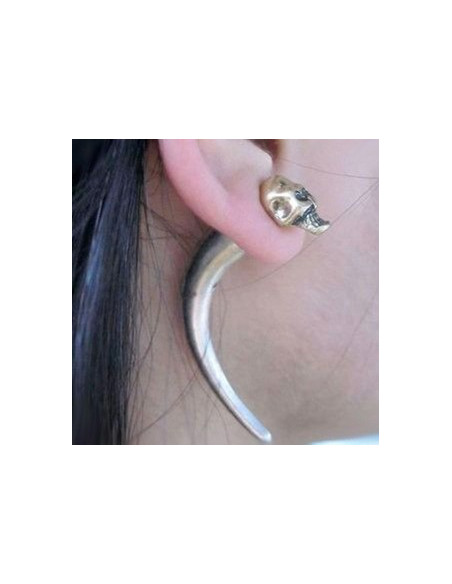 Cercel tip ear cuff, model cu craniu auriu si colt curbat, prindere pe ureche