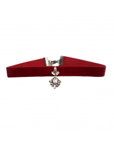 Colier choker statement, cu medalion vintage cu cristale albe