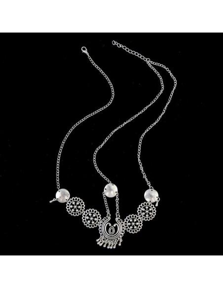 Bentita pentru par model etnic argintiu, cu medalioane rotunde