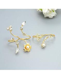 Set 2 inele duble, cu flori, cristale si perle