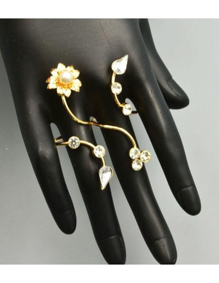 Inel dublu, cu flori, cristale si perle