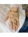 Set inel dublu si bratara de palma, cu flori, cristale si perle