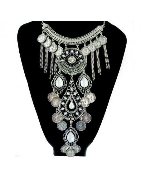 Colier statement argintiu, model indian cu cristale albe si banuti
