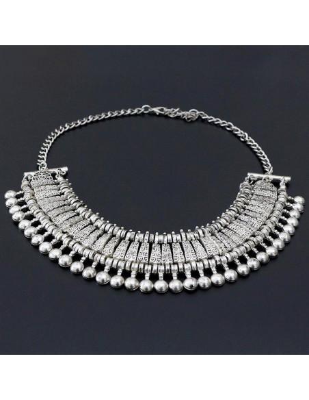 Colier indian argintiu lat, cu bilute si motive etnice