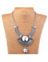 Colier statement vintage, model egiptean cu cristale mari