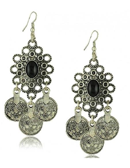 Cercei cu banuti argintii indieni, model etnic oval cu negru