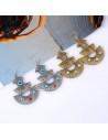 Cercei etnici, semicercuri articulate cu cristale si margelute